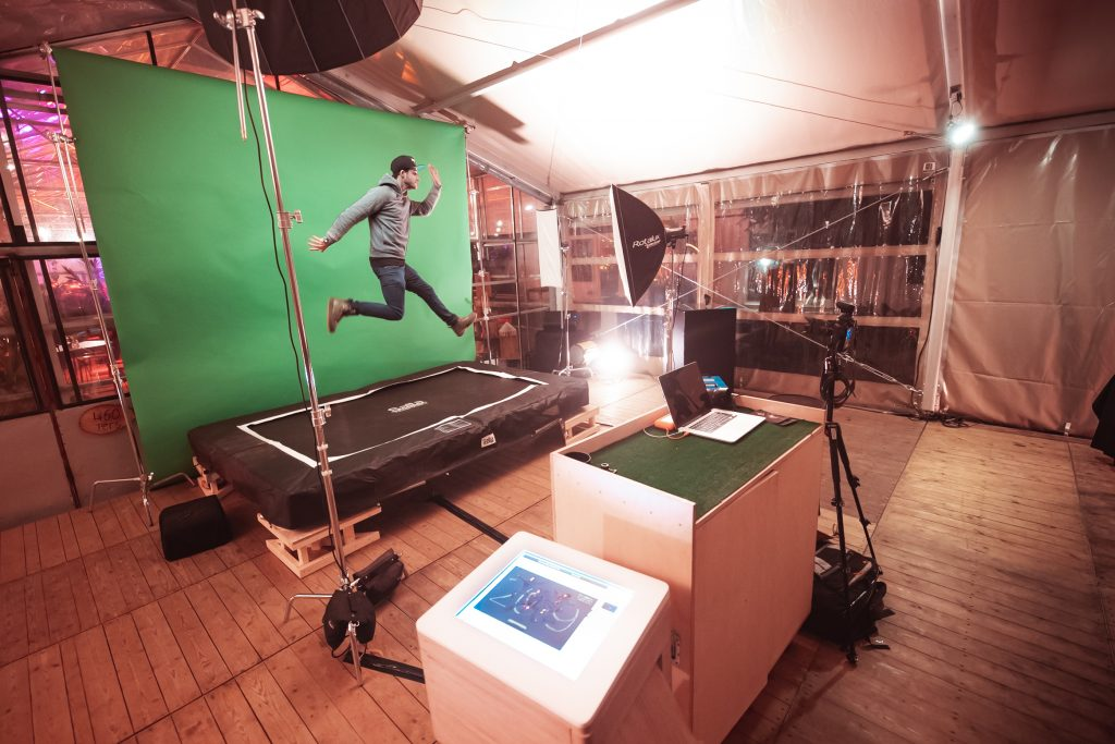 Trampoline Green Screen Photobooth setup